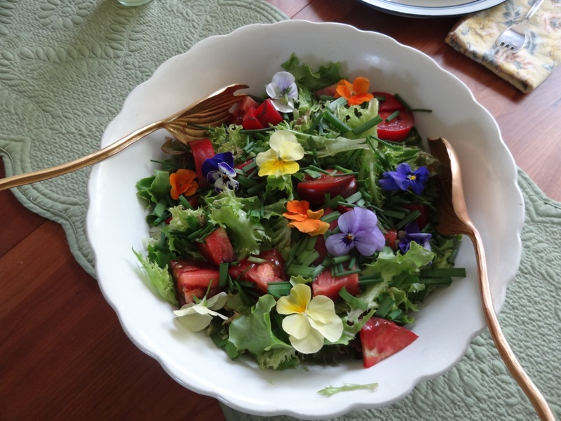 Pansy studded salad